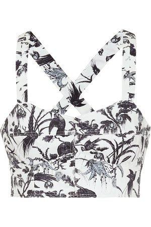 Erdem Abril printed cotton bustier top