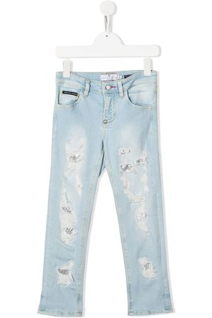 Philipp Plein Girls Straight - Distressed straight-leg jeans