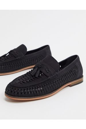 River Island Leather woven loafer in