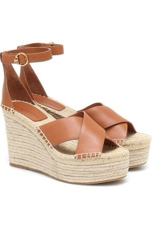 Tory Burch Selby 105 leather wedge espadrilles