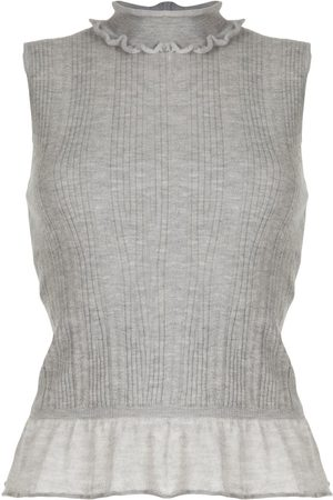 CHANEL 2006 ruffled neck knitted top