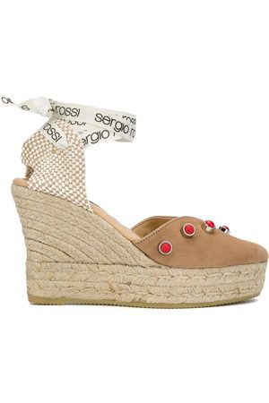 Sergio Rossi X Manebi wrap-around studded espadrilled wedges