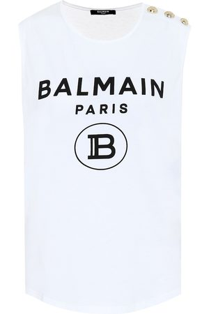 Balmain Logo cotton-jersey top
