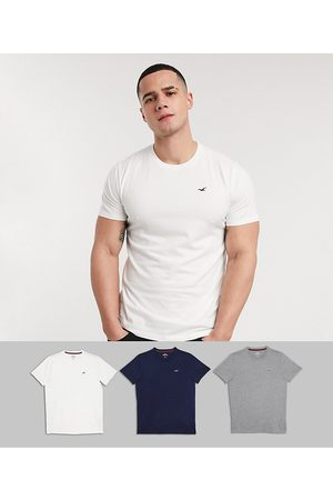 Hollister 3 pack crew neck t-shirt seagull logo slim fit in white/grey/navy