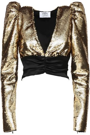 AMEN Puff Sleeves Sequined Satin Top
