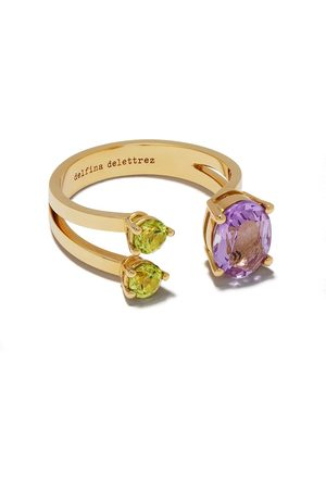 DELFINA DELETTREZ 18kt yellow gold Dots amethyst and peridot ring