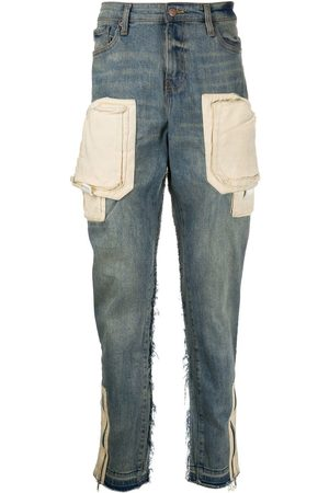 VAL KRISTOPHER Contrast-pockets mid-rise tapered jeans