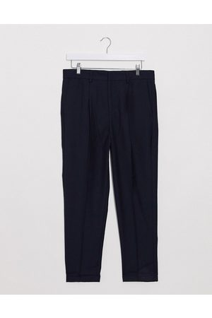 New Look Pleated roll hem trousers in