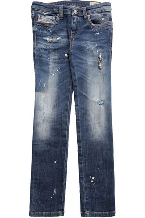 DIESEL KIDS Distressed Stretch Cotton Jeans
