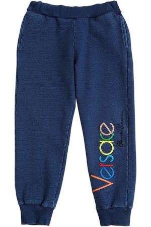 VERSACE Logo Embroidery Cotton Sweatpants