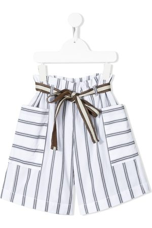 Brunello Cucinelli Striped belted shorts