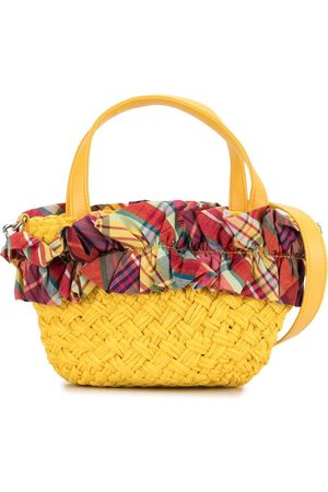 Familiar Girls Bags - Plaid-trimmed tote