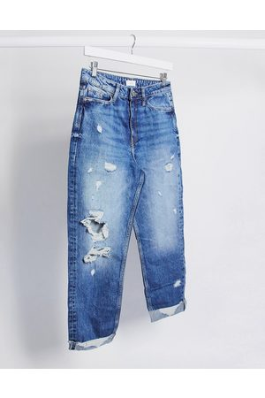 River Island Carrie ripped mom jeans in mid