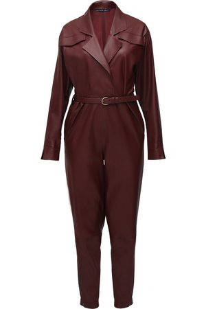 Zeynep Arcay Bat Wing Leather Jumpsuit