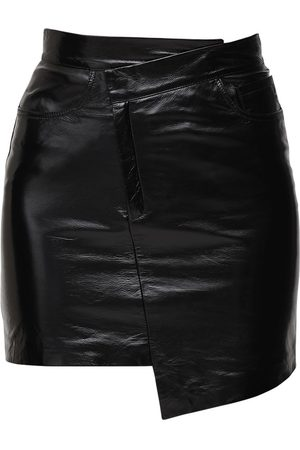 Zeynep Arcay Asymmetric Patent Leather Mini Skirt