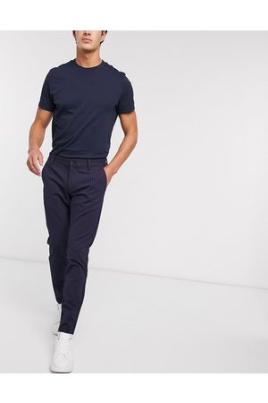 Only & Sons Men Stretch Pants - Stretch smart trouser in pinstripe
