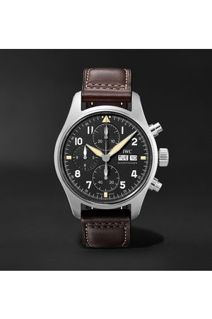 IWC SCHAFFHAUSEN Men Watches - Pilot's Spitfire Automatic Chronograph 41mm Stainless Steel and Leather Watch, Ref. No. IW387903