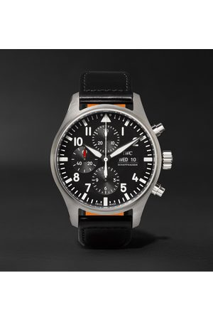 IWC SCHAFFHAUSEN Men Watches - Pilot's Automatic Chronograph 43mm Stainless Steel and Leather Watch, Ref. No. IW377709