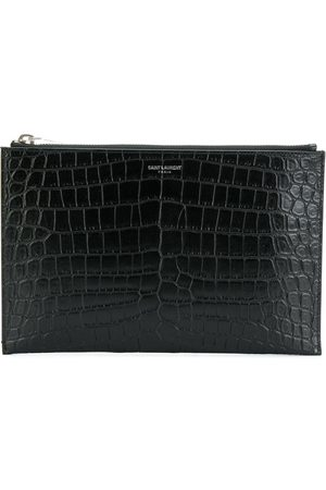 Saint Laurent Mini tablet crocodile-embossed sleeve