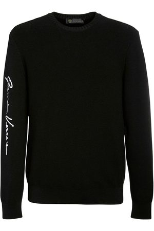 VERSACE Men Logo Embroidered Wool Knit Sweater