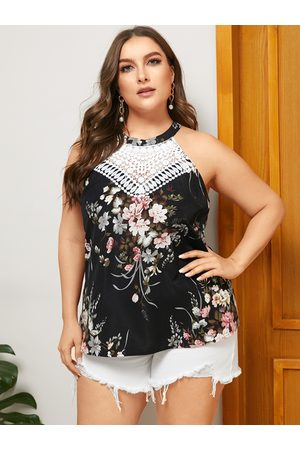 YOINS Plus Size Lace Floral Print Halter Sleeveless Cami