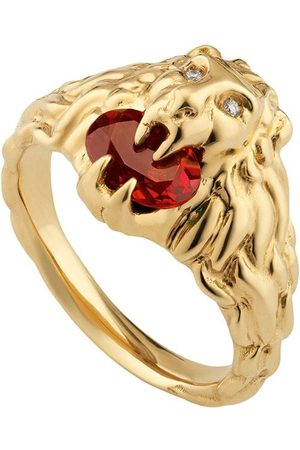 Gucci 18kt yellow diamond lion head ring