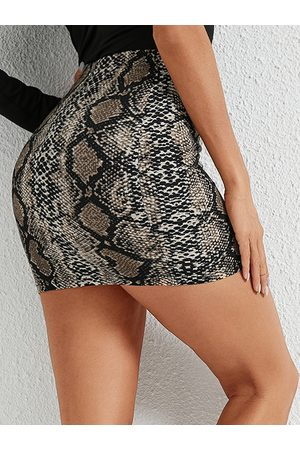 YOINS Sexy Snakeskin High-Waisted Mini Skirt