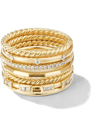 David Yurman 18kt yellow gold Cable Stax diamond ring