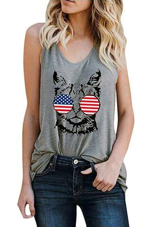 YOINS Cat Printed Round Neck Sleeveless Cami