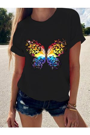 YOINS Butterfly Print Round Neck Short Sleeves Tee