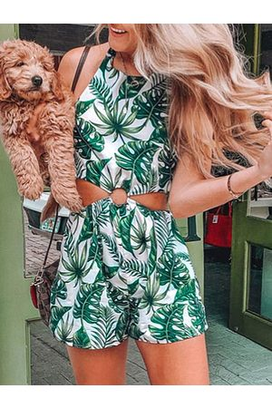 YOINS Green Cut Out Tropical Halter Sleeveless Playsuits
