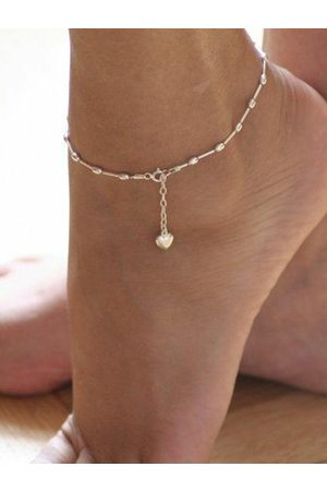 YOINS Silver Heart Shape Metal Chain Anklet