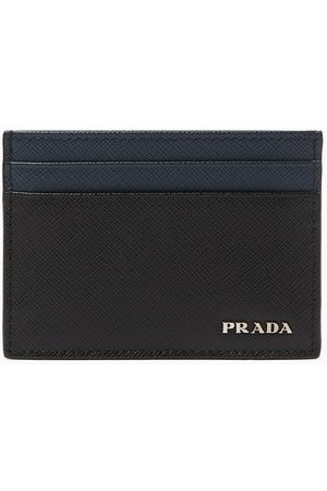 Prada Metal Logo Card Holder in Saffiano Leather