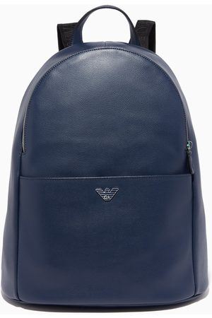 Emporio Armani Navy Luxor Fast Leather Backpack