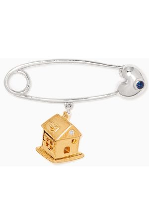 """Baby Fitaihi """"It's A Boy!"""" House Diamond & Sapphire Brooch in 18kt Gold"""