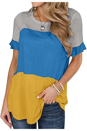YOINS Casual Round neck Patchwork Short sleeves Tee