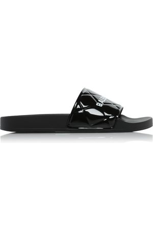 Balenciaga Logo-Printed Quilted Faux Patent Leather Pool Slides