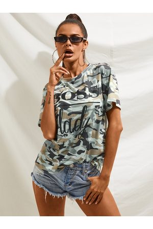YOINS Camo Letter Printed Crew Neck Short Sleeves Tee