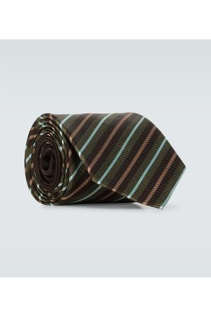 DRIES VAN NOTEN Diagonally striped silk tie