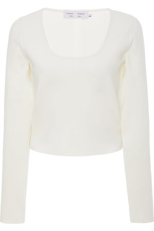 PROENZA SCHOULER WHITE LABEL Scoopneck Knitted Cropped Top