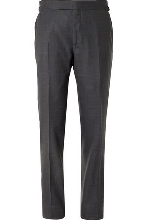 Tom Ford Men Formal Pants - Slim-Fit Prince of Wales Checked Wool and Silk-Blend Suit Trousers