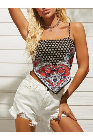 YOINS Scarf Print Tie-up Design Backless Sleeveless Crop Top