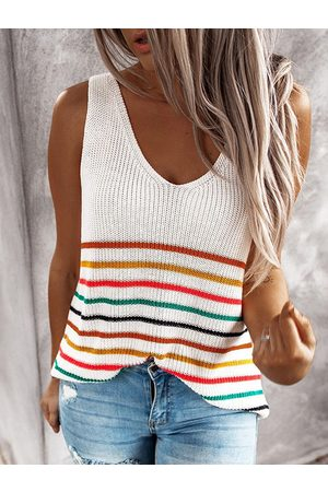 YOINS Striped V-neck Sleeveless Tank Top