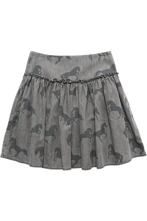 Stella McCartney Horses Print Cotton Chambray Skirt