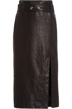 REJINA PYO Mia Belted Leather Midi Skirt