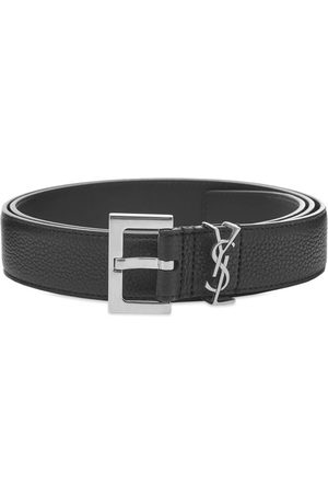 Saint Laurent Metal Logo Grain Leather Belt