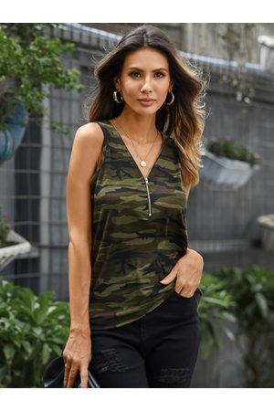 YOINS Army Green Camo Zip Front V-neck Sleeveless Cami