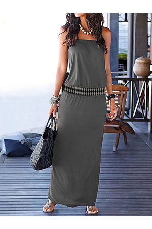 YOINS Grey Strapless Tube Sleeveless Maxi Dress