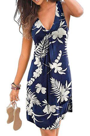 YOINS Casual Twist Tropical Print V-neck Sleeveless Vest Dress