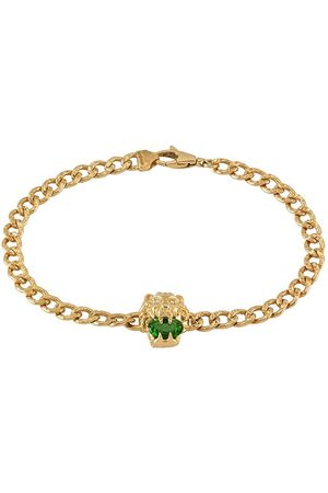 Gucci 18kt yellow lion head chrome diopside and diamond bracelet